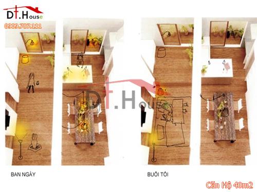 Căn hộ Chật Hẹp 40 m2 Được Biến Hóa Tràn Ánh Sáng